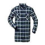 Chemise en flanelle extra-longue - longueur de dos 105 cm - Marine/Blanc/Vert carreaux - Taille L