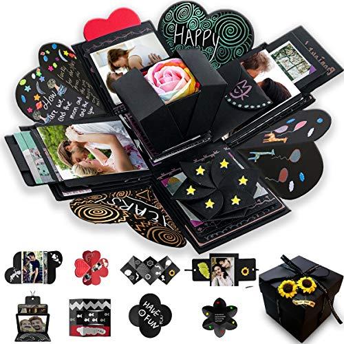 Wanateber Creative Explosion Gift Box, DIY - Love Memory, Scrapbook, Photo Album Box, as Birthday Gift, Wedding or Valentine's Day Surprise Box (Black)