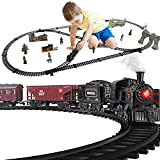 Baby Home Metal Alloy Model Train Set, Electric Train Toy for Boys Girls, with Realistic Train Sound,Lights and Smoke, Gifts for 3 4 5 6 7 8+ Year Old Kids (3 Carriages)