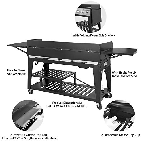 Product Image 3: Royal Gourmet GB8000 8-Burner Liquid Propane Event Gas Grill, BBQ, Picnic, or Camping Outdoor, Black