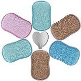 6 Eponges Microfibre Vaisselle Lavable Grattante Ecologique Tampons Antibactérienne...