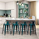Metal Bar Stools Set of 4 with Backs Counter Height Barstools Industrial Style (26 Inch, Teal)