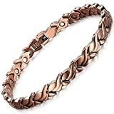 Rainso Womens Magnetic Copper Bracelets for Arthritis Wristband with 3 Smart Buckle (Petal)