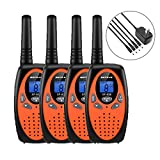 Walkie Talkies 4 Pack Kids Long Range Rechargeable Walkie Talkies 22 CH 3 Miles High Sound Quality 2 Way Radios Walkie Talkies for Kids Boys Girls Camping Hunting Car Cruise Orange