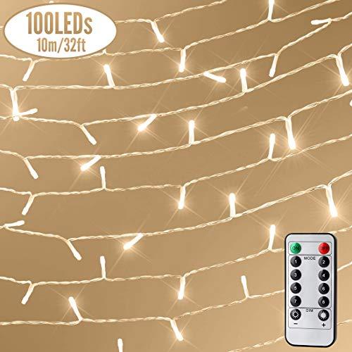 100 LED Lichterkette mit Fernbedienung und Timer, 8 Modi Dimmbar Outdoor Weihnachtslichterkette Batteriebetrieben, 11m, Warmweiß