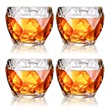 GLASKEY Unique Whiskey Glasses, Set of 4, 11 oz, Premium Scotch Glasses, Bourbon Glasses for Cocktails, Rock Style Old Fashioned Drinking Glassware, Perfect for Gift
