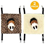 EONMIR 2Pack Guinea Pig Hammock, Small Animal Hanging Bed Toys fit Rats, Chinchilla, Pet Cage Accessories (Leopard Print)