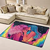 Grand tapis coloré arc-en-ciel pour chambre à coucher, salon, décoration de la maison,...