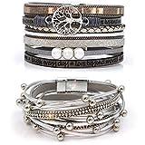Suyi Ensemble De Bracelet en Cuir Multicouche 2 Pièces Bracelet De Perles...