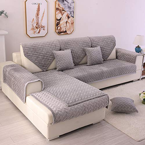 TEWENE Couch Cover, Sofa Cover Couch Covers Sectional Couch Covers Anti-Slip Sofa Slipcover for Dogs Cats Pet Love Seat Armrest Backrest Cover Light Grey 28''x28'' (Only 2 Pieces/Not All Set)