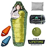HiHiker Mummy Bag + Travel Pillow w/Compact Compression Sack – 4 Season Sleeping Bag for Adults & Kids – Lightweight Warm and Washable, for Hiking Traveling & Outdoor Activities (Green)