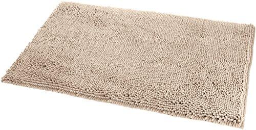 AmazonBasics - Tappeto da Bagno in Microfibra, a Pelo Lungo, Antiscivolo, 0,53 x 0,86 m, Beige