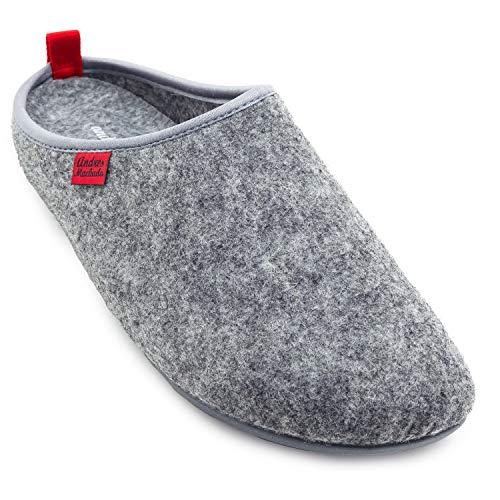 Andres Machado Unisex Hausschuhe für Damen und Herren für Sommer und Winter – Slipper/Pantoffeln Dynamic – Oberteil aus Wolle und Filz – mit Rutschfester Gummisohle und herausnehmbarem Fußbett