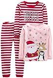 Simple Joys by Carter's Girls' 3-Piece Snug-Fit Cotton Christmas Pajama Set, Red Stripe/Santa, 12 Months