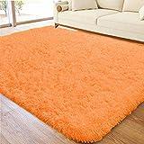 ACTCUT Ultra Soft Indoor Modern Area Rugs Fluffy Living Room Carpets for Children Bedroom Home Decor Nursery Rug 4x5 Feet, Orange