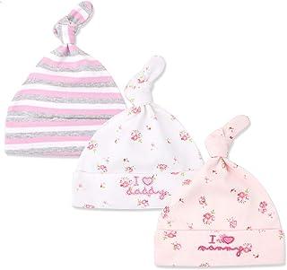 Tukistore 3 Pezzi cappello beanie Baby neonato ragazzi ragazze cotone cappellino regolabile per bambino 0 – 6 mesi