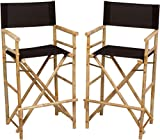Zero Emission World Bamboo Barstool-Natural Color Black Canvas Bar Height Folding Chairs Counter Stool Outdoor Indoor Tall Camping Set of 2, 22.8x18.9x47.2