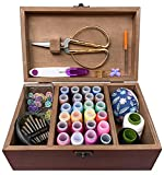 Crafton Wooden Sewing Kit Box for Adults Beginners with Cute Accessories - Home Sewing Basket Stitching Repair Kit for Women