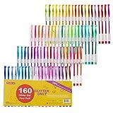 160 Pack Glitter Gel Pens Set, Shuttle Art 220% Ink Glitter Gel Pen 80 Colored Gel Pens Plus 80 Refills for Adult Coloring Books Craft Doodling