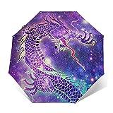 Paraguas automático triple plegable 3D con estampado exterior galaxia dragón chino, protector solar impermeable resistente al viento, duradero, paraguas plegable para hombre y mujer al aire libre
