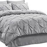 Bedsure King Comforter Sets King Size Comforter Set King Comforter 8 Pieces Grey - 1 Bed in A Bag (102x90 Inches), 2 Pillow Shams, 1 Flat Sheet, 1 Fitted Sheet, 1 Bed Skirt, 2 Pillowcases