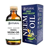 Zatural Organic Virgin Neem Oil 8 Ounce: 100% Natural Pure Cold Pressed No Additives, Unrefined Concentrate for Body and Skin, Pets, and Plants or Garden