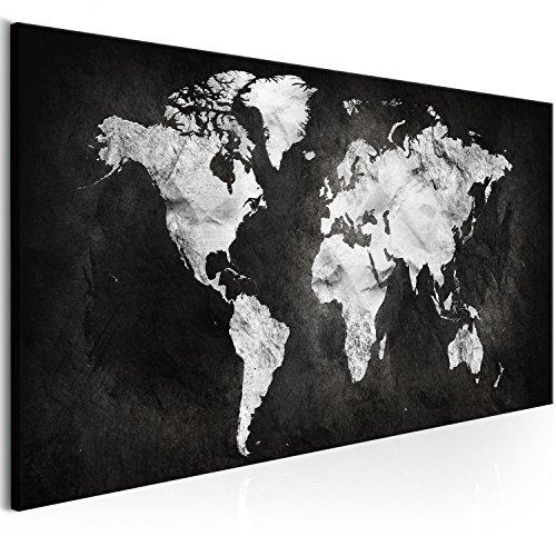 murando Quadro Mappamondo 120x40 cm Stampa su tela in TNT XXL Immagini moderni Murale Fotografia Grafica Decorazione da parete Mappa Astratto nero argento k-A-0297-b-a