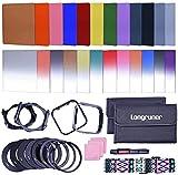 Longruner - Set di 24 filtri quadrati, compatibili con Cokin Serie P con portafiltro, anello adattatore, paraluce, sistema di pulizia, cinghia, per fotocamere DSLR (versione 2017)