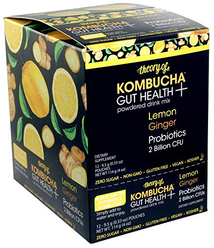 Theory of Kombucha Powdered Drink Mix, Gut Health +, 12 Single-Serving Pouches