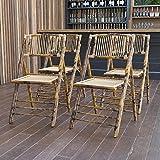 Flash Furniture 4 Pack American Champion Bamboo Folding Chair