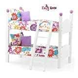 Emily Rose 14 Inch Doll Furniture Bed  2 Single Stackable 14' Doll Beds   Doll Bunk Bed, Includes 2 Sets of Colorful 4 Piece Doll Bedding Sets & Ladder   Fits 14' Wellie Wishers and Glitter Girl
