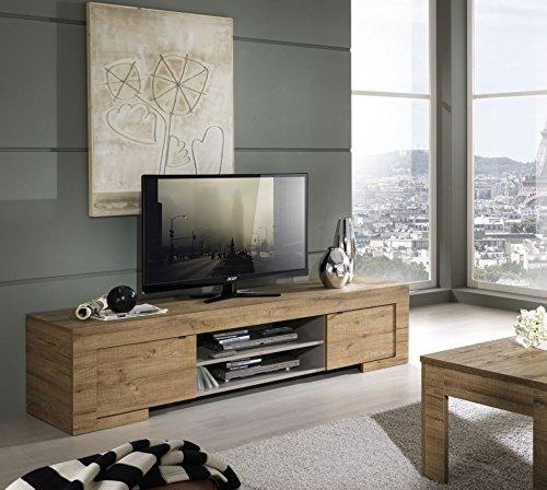 Lc Spa Milano, Mobile TV con 2 Ante e 1 ripiano in Legno, 190 x 45 x 51 cm, Quercia cleaf Miele, a...