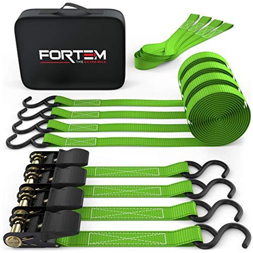 Fortem Ratchet Tie Down Straps, 4X 15ft Securing Straps, 4X Soft...