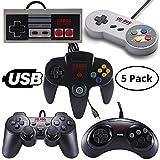 Vilros Retro Gaming 5 USB Classic Controller Set- Nintendo (NES), Super Nintendo (SNES), Sega Genesis, Nintendo 64 (N64), Playstation 2 (PS2) Great for RetroPie,PC, Raspberry Pi Gamepad