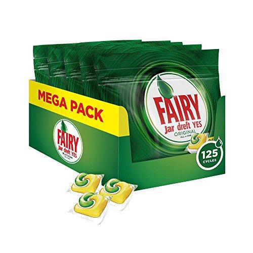 Fairy Original 125 Pastiglie per Lavastoviglie Limone, Detersivo Maxi Formato da 125 Caps, 5 Confezioni da 25 caps