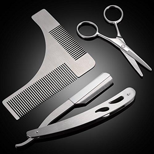 Barba Kit, PChero Strumento in Acciaio Inossidabile per Modellare Barba, con Modello Pettine, Forbici e Rasoio (Lame Non Inclusa)