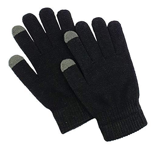 SellnShip Touch Screen Winter Gloves Warm Touchscreen Woolen Mittens for Men Women Children - Black...