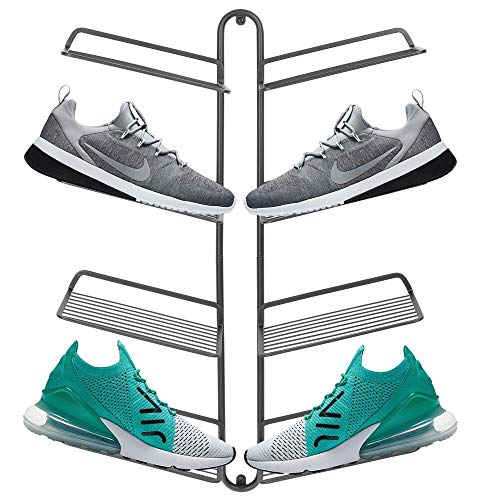 mDesign Modern Metal Shoe Organizer Display & Storage Shelf Rack - Hang & Store Your Collection of Kicks, Running,...