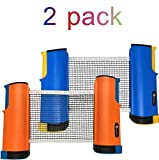 JP WinLook Ping Pong Net - 2 Pack; Retractable Table Tennis Nets & Post Set; Adjustable Any Table Anywhere; Portable Holder Cover Case; Indoor Outdoor Game Replacement Accessories; Bracket Clamps
