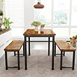 AWQM Dining Room Table Set, Kitchen Table Set with 2 Benches, Ideal for Home, Kitchen and Dining Room, Breakfast Table of 47.2x28.7x29.5 inches, Benches of 41.3x11.8x17.7 inches, Rustic Brown