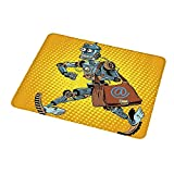 Mousepad Waterproof Non-Slip Rubber Retro,Pop Art Comic Book Style Robot Mailman Vintage Science Fiction Design,Yellow and Light Blue 8.3x10.3 inch for Women