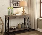 Weathered Grey Reclaimed Look Console Sofa Table X-Design with Two Drawers/Shelf