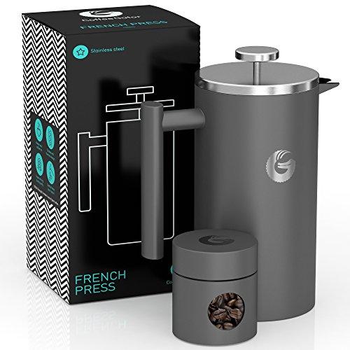 Coffee Gator French-Press-Kaffeebereiter – Heißer-für-Länger-Thermobrüher – Plus Reiseglas – Große Kapazität, doppelwandig isoliert, spülmaschinengeeigneter Edelstahl – 1 Liter – Grau