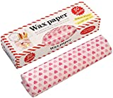 50 Sheets Wax Paper Food Picnic Paper Disposable Food Wrapping Greaseproof Paper Food Paper Liners Wrapping Tissue for Plastic Food Basket (Heart)