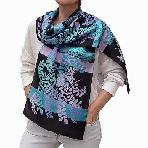 Long Silk Scarf, Boho Fashion Floral Shawl, Blue, Turquoise,...
