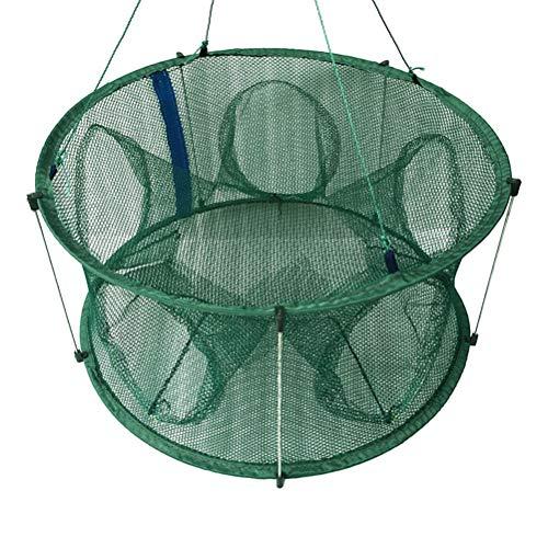 LIOOBO Trappola da Pesca Landing Rete da Pesca Pieghevole Gabbia per gamberi Rete da Pesca per gamberi di Pesce Gamberetti Granchio di Aragosta (Green Light Struts 5 Fori 50CM)