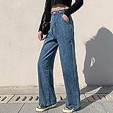 Jeans Mujer Jeans Ropa De Cintura Alta Ropa De Mezclilla De Pierna Ancha Ropa De Calle Azul Moda De Calidad Vintage Pantalones Rectos Harajuku M Azul