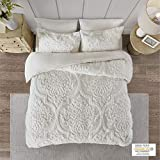 Madison Park Viola 3 Piece Tufted Cotton Chenille Duvet Cover Set, Full/Queen(90'x90'), Damask White
