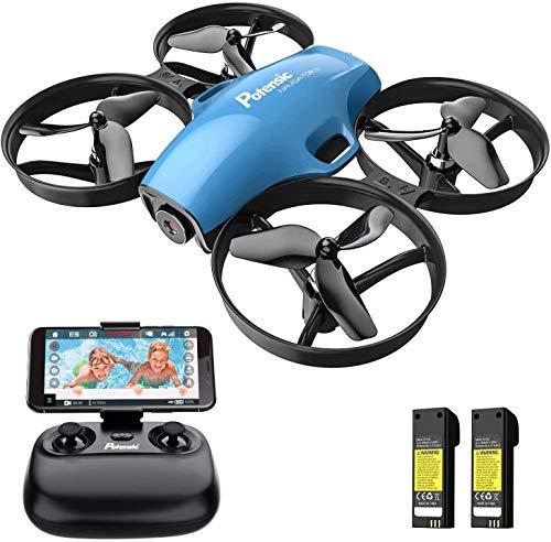 Potensic Drone con Telecamera HD Mini Drone Telecomando Quadricottero HPV WiFi modalità Senza Testa, Sensore di gravità, Mantenere l'Altitudine, Blu