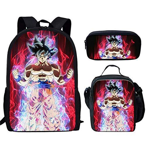 Zaino per la scuola Anime Dragon Ball Z Zaino Son Goku con custodia Lunchbox, astuccio per penna Set di 3, sacchetti per Bambini principali
